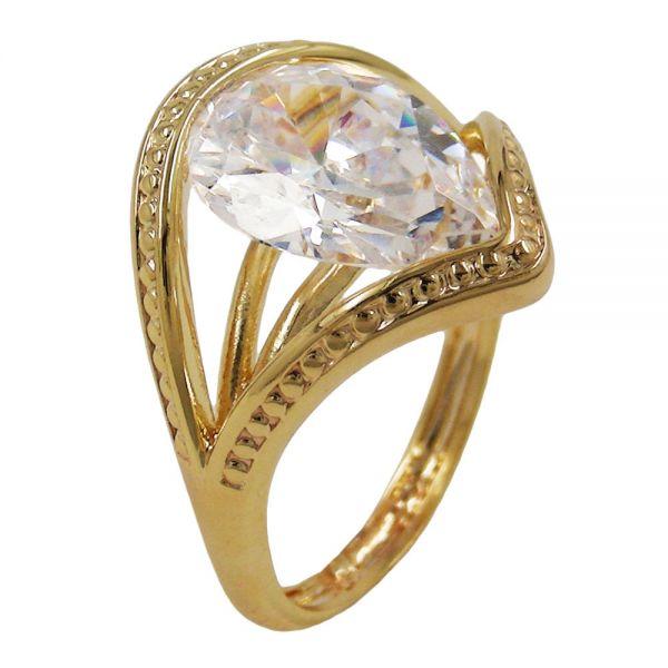 Ring 18mm gold-plattiert Zirkonia