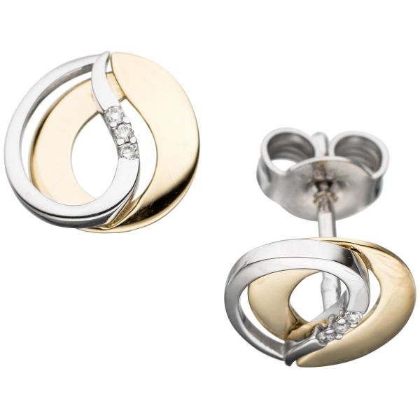 Ohrstecker 585 Gold bicolor Diamanten