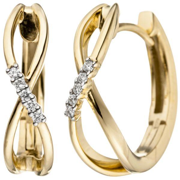 Creolen 585 Gold Diamanten 0,06ct.