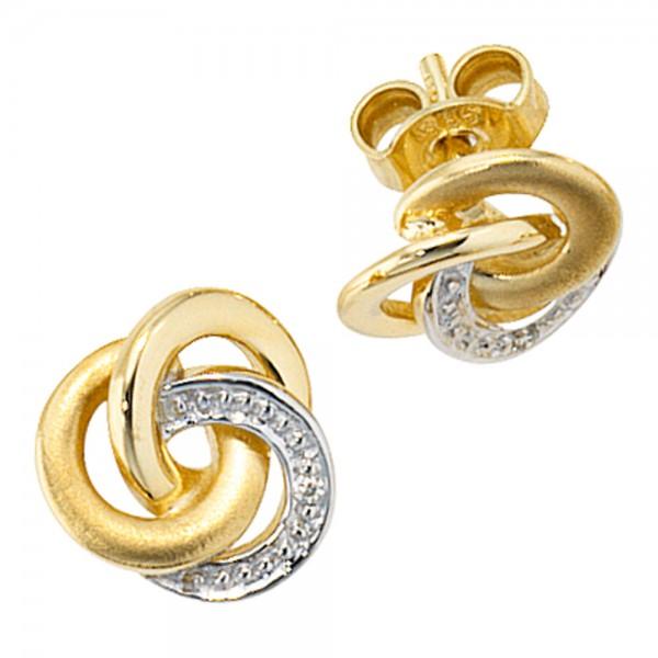 Ohrstecker Knoten verschlungen 585 Gold bicolor Diamanten