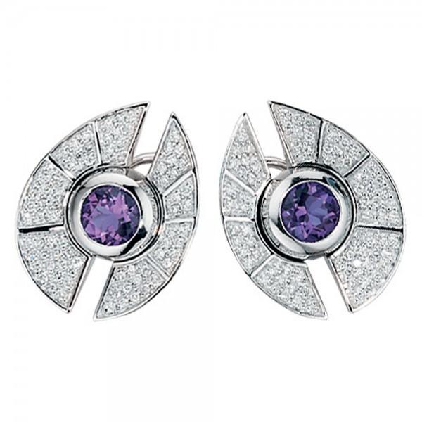 Ohrstecker 585 Gold 150 Diamanten Amethyste lila violett