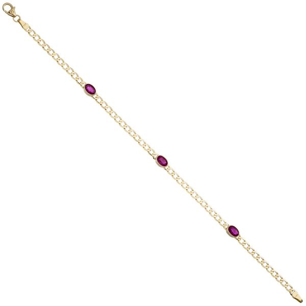 Rubinarmband 585 Gold rot 19,5cm