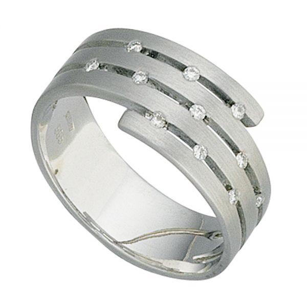 Damenring breit 585 Gold matt 11 Diamanten
