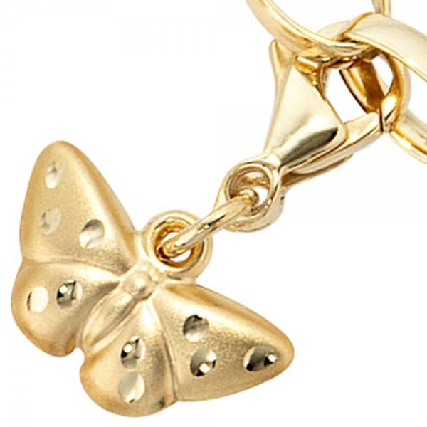 Charm Schmetterling aus 333 Gold matt