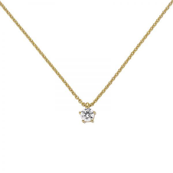Collier mit Anhänger 585 Gold Diamant 0,25 ct. 45cm