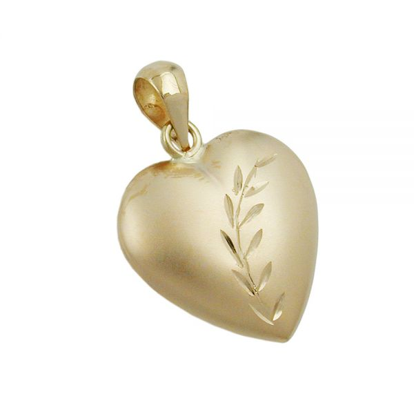 Anhänger 14x14mm Herz mit Schliff matt-glänzend 9 Karat Echtgold