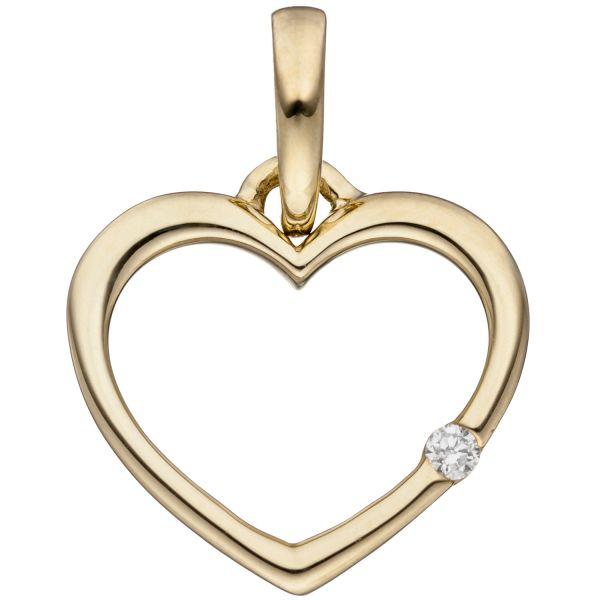 Herzanhänger 333 Gold Diamant