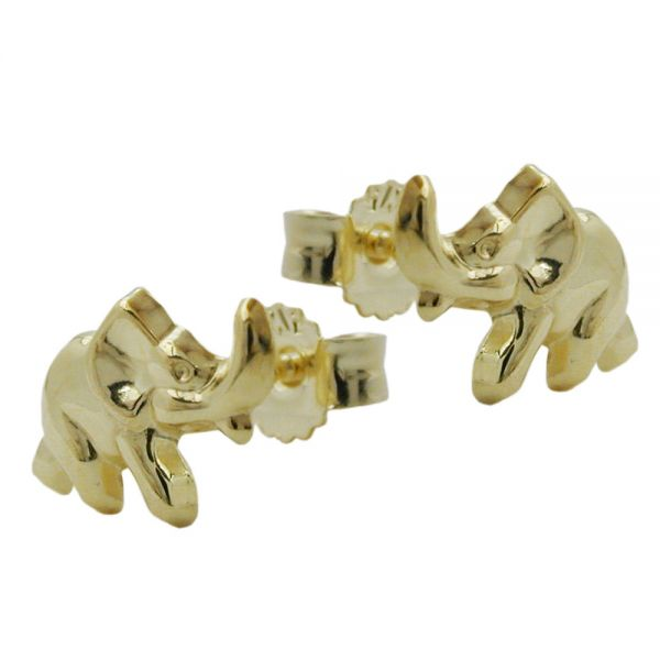 Stecker 7x10mm Elefant glänzend 9 Karat Echtgold