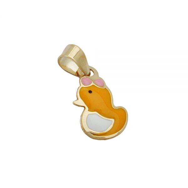 Anhänger 11x7mm kleine Ente farbig emailliert 9 Karat Echtgold
