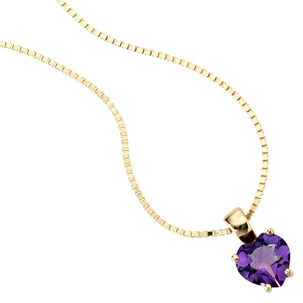 Herzanhänger 333 Gold Amethyst lila violett