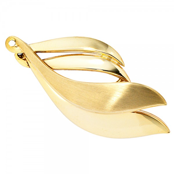 Goldbrosche 333 Gold teil matt