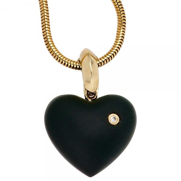 Herzanhänger 585 Gold Onyx schwarz Diamant