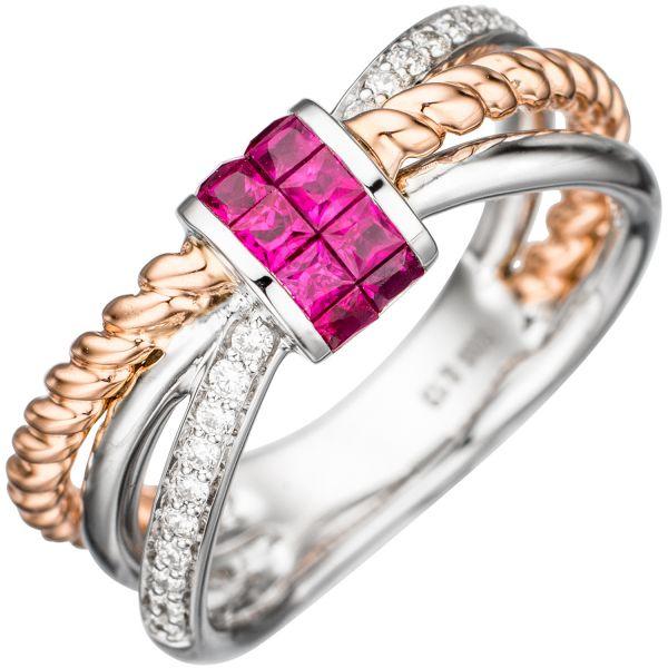 Rubinring 585 Gold bicolor Diamanten