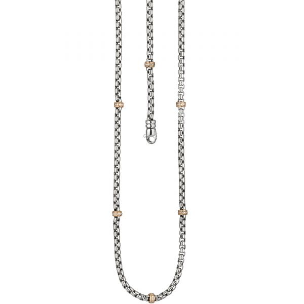 Diamantencollier 585 Gold Rotgold bicolor 45cm