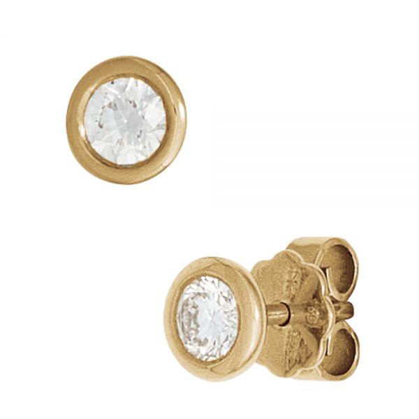 Ohrstecker rund 585 Gold Diamanten 0,10ct.