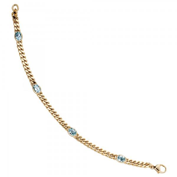 Armband 585 Gold 19cm Blautopase blau