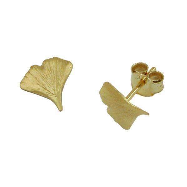 Stecker 9mm Ginkgoblatt matt 9 Karat Echtgold